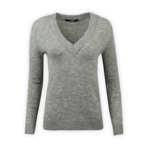 Womens-Ladies-Long-Sleeve-Wool-Blend-V-Neck-Boxy-Jumper-Casual-Grey-Sweater-Top