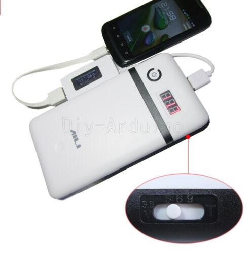 3.3A 5V-21V Mobile Power Bank Six 18650 Battery Charger White For 19V Laptop NEW