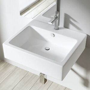 Durovin white ceramic wall hung or countertop shelf space for Wall mounted bathroom countertop