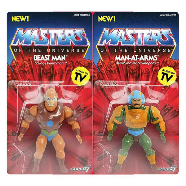 Masters of the universe pack man at arms and beast man super 7 new unopened