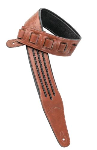 Walker /& Williams G-552 Saddle Brown Padded Guitar Strap with Barbed Wire Lacing
