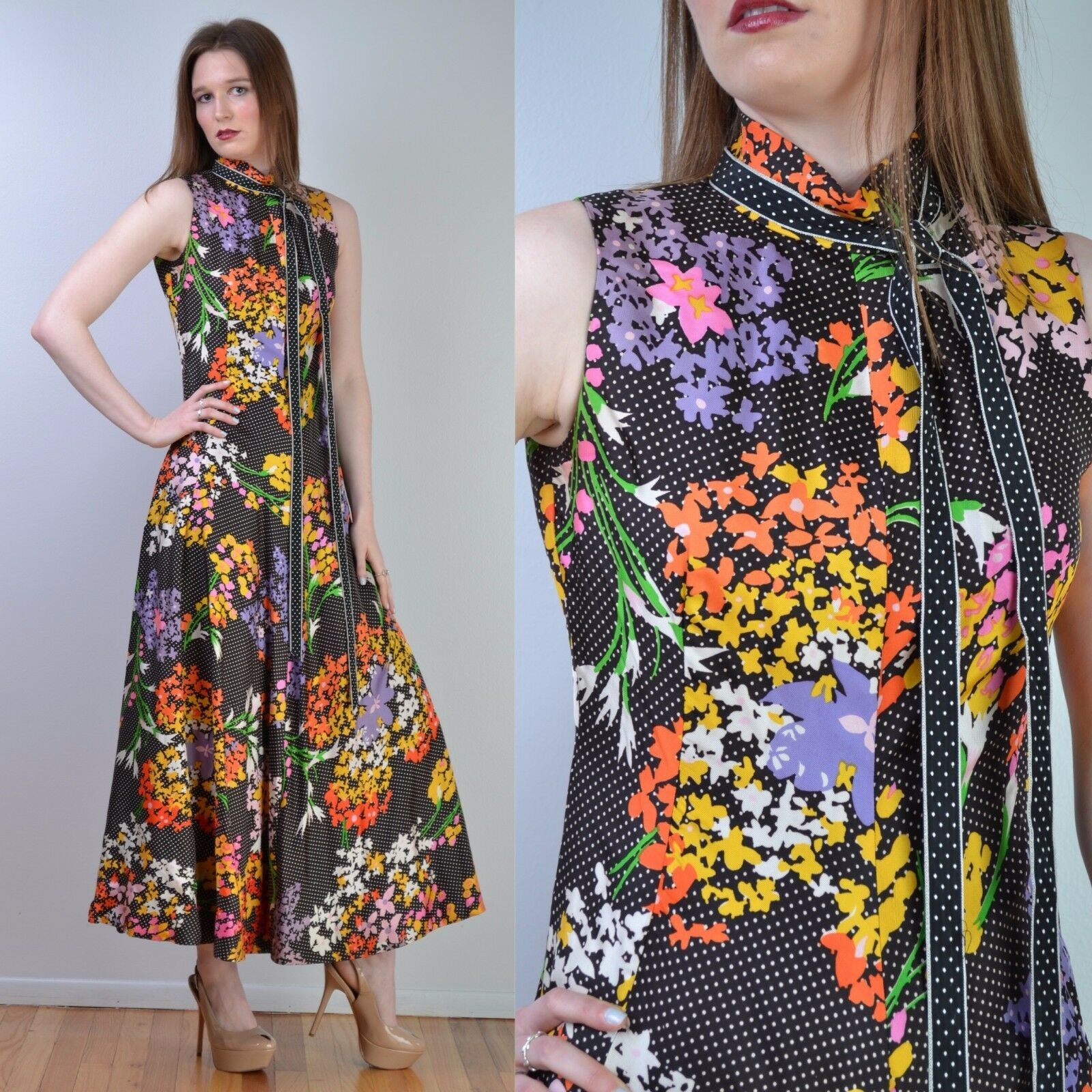 VTG 70s GEOFFREY BEENE Graphic Floral + Polka Dot Full Circle Maxi DRESS S-M