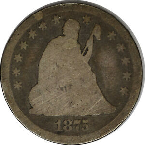 1875-P Silver Seated Liberty Quarter AG Uncertified Raw US Coin
