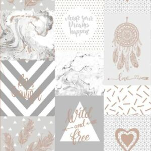 LIFE IS BEAUTIFUL COLLAGE WALLPAPER GREY / ROSE GOLD - HOLDEN 90051 NEW  5022976900516 | eBay