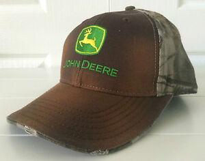 1b2fe134bf0 John Deere Washed Brown   Realtree Hardwoods Camo   Orange Hat Cap ...