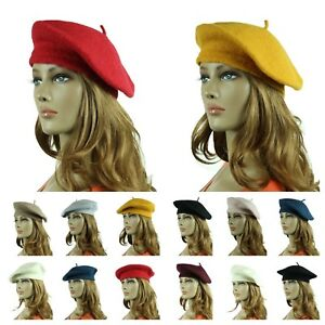 77cc9ab8f Details about Wool French Beret Hat Fashion Artist Hats Casual Plain Beanie  Cap Unisex Caps
