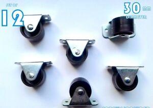 12-Rigid-Fixed-Wheels-Casters-30mm-Furniture-Beds-Drawers-Box-Matresses-Plastic