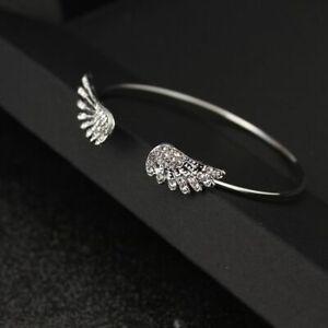 Adjustable-Crystal-Rhinestone-Angle-Wing-Bangle-Cuff-Bracelets-Fashion-Jewelry