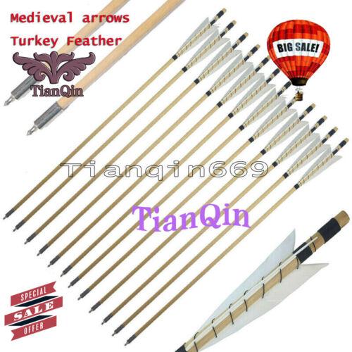 "12PK 32/"" Archery Hunting Wooden Arrow Medieval arrows Turkey Feather Field Point"