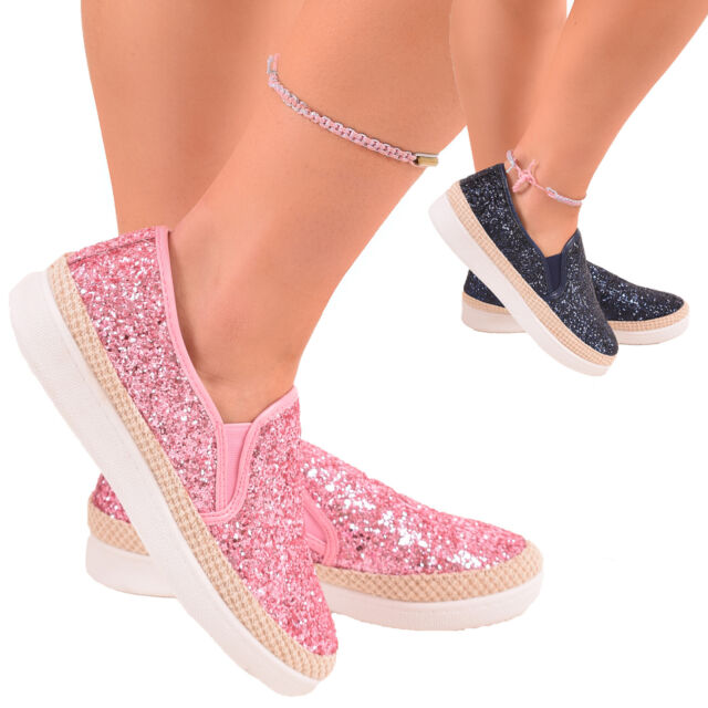 Ladies Girls Glitter Trainers Pumps Sneakers Summer Slip On Fashion Shoes Size