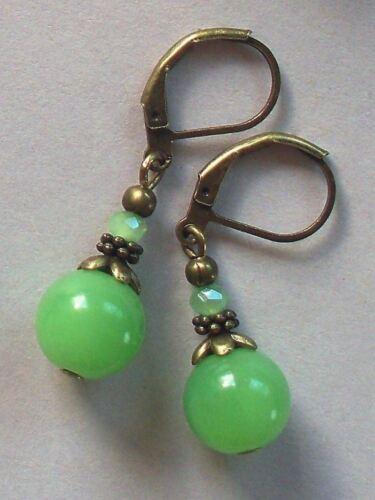 aventurine green JADE DROP DROP earring BRONZE LEVERBACK handcrafted