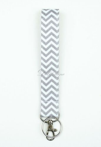 Chevron Fabric Wristlet Key Fob with key ring and swivel clasp