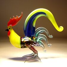 """Blown Glass Figurine """"Murano"""" Art Bird Fighter ROOSTER with Blue & Yellow Tail"""
