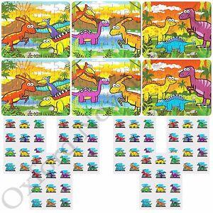 6-Kids-Dinosaur-Jigsaw-Puzzles-amp-72-Tattoos-6-Packs-Of-12-Party-Bag-Filler