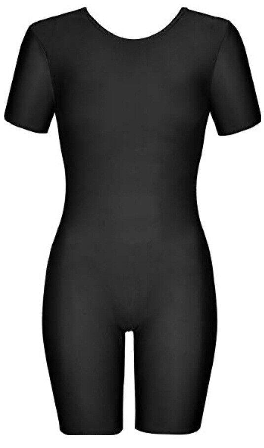 Girls Shiny Short Sleeve Unitard Bodysuit Dance/Gymnastics/PE/Swim Leotard