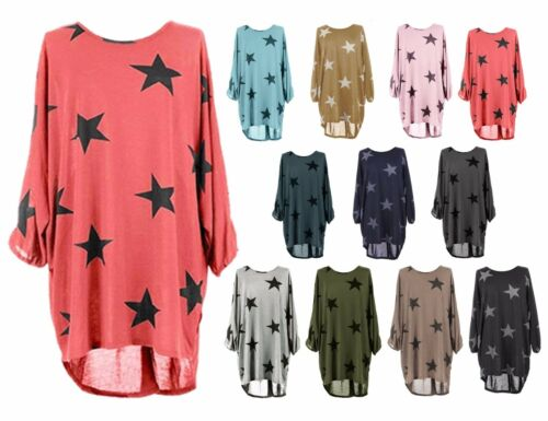 Oversized Women Lagenlook Stars Print Batwing Dress Baggy Tunic Blouse Top 8//30