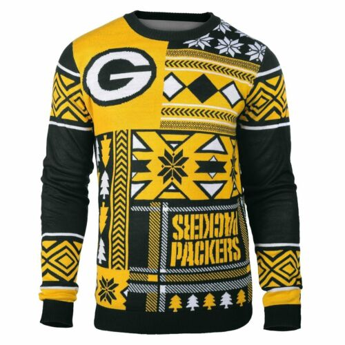 Ugly Weihnachten Pullover NFL Green Bay Packers Aufnäher Fußball Holiday Crew