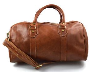 Dettagli su Borsone uomo donna borsa viaggio con manici e tracolla vera pelle marrone opaco