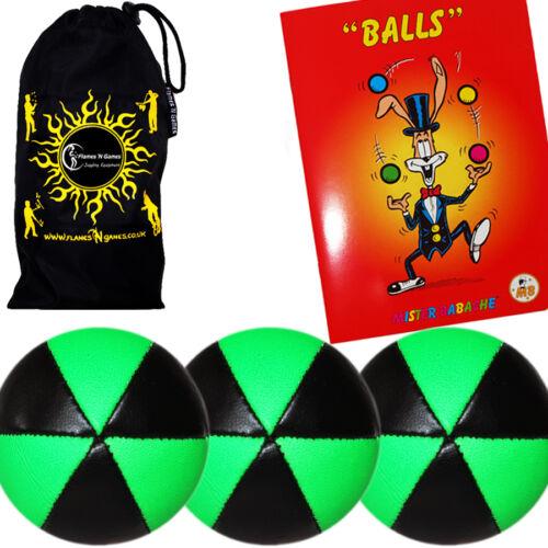 Set of 3 Juggling Ball ASTRIX UV Pro Thud Juggling Balls Tricks Book /& Bag