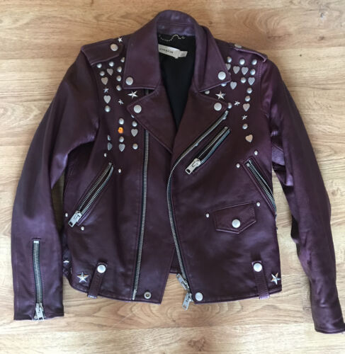 Coach Studded Motorcycle Jacket Burgundy