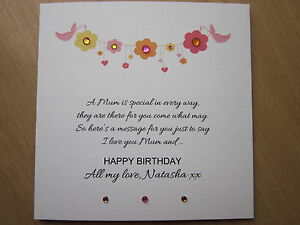Image Is Loading Personalised Handmade Female Birthday Card Mum Nan Grandma
