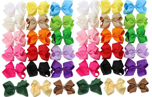 "30 PCS 5.5/"" Baby Girls Huge Grosgrain Ribbon Boutique Hair Bows Kids Hair Clip"