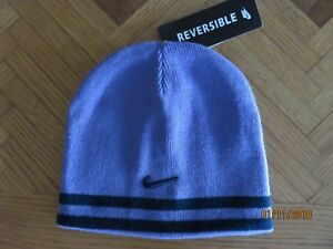 66e1a562e2799 Girls Nike Winter Beanie Hat Reversible Purple Navy Blue Size 7-16 ...