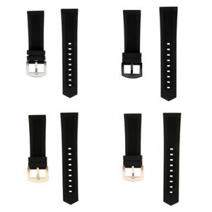 Black-Soft-Silicone-Watchband-Strap-19mm-24mm-Replace-Band-with-4-Spring-Bar