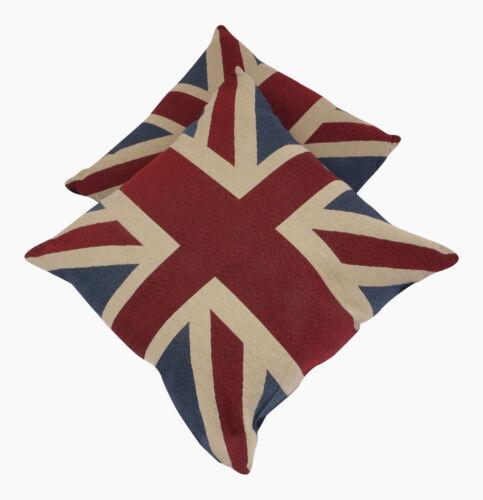 Une paire de coussins Vintage Union Jack complet avec pad