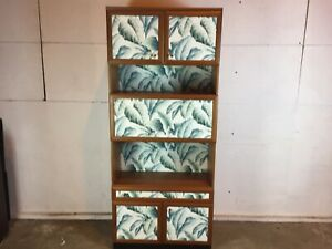 Vintage-Mid-Century-Teak-Upcycled-Leaf-Pattern-Tall-Bar-Cabinet-Cupboard