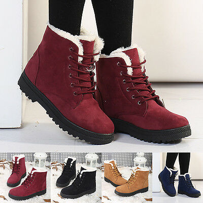 Casual  Winter Womens Warm Wool Lace-up Ankle Boots Martin Snow Boots Shoes