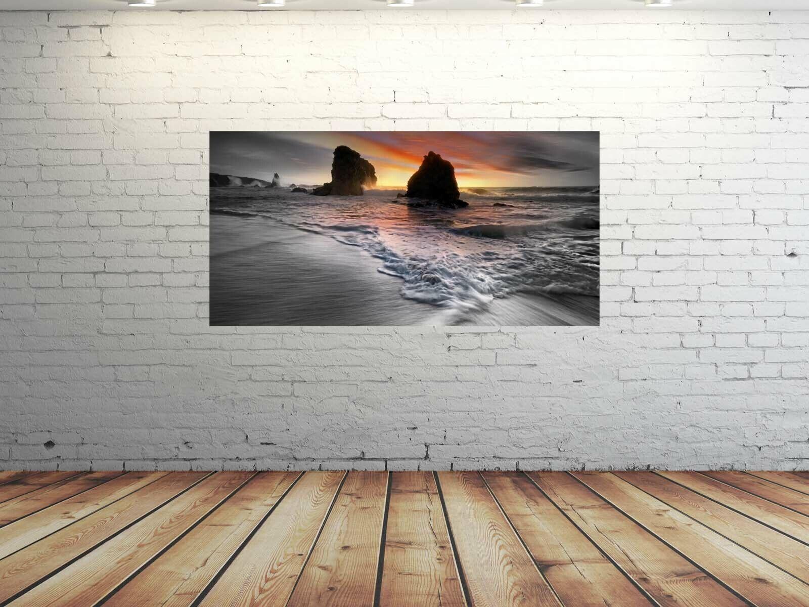 Alu-Dibond Bild ALU100500659 WELLEN MEER Orange 100 x 50 cm Wandbild ROMANTIK