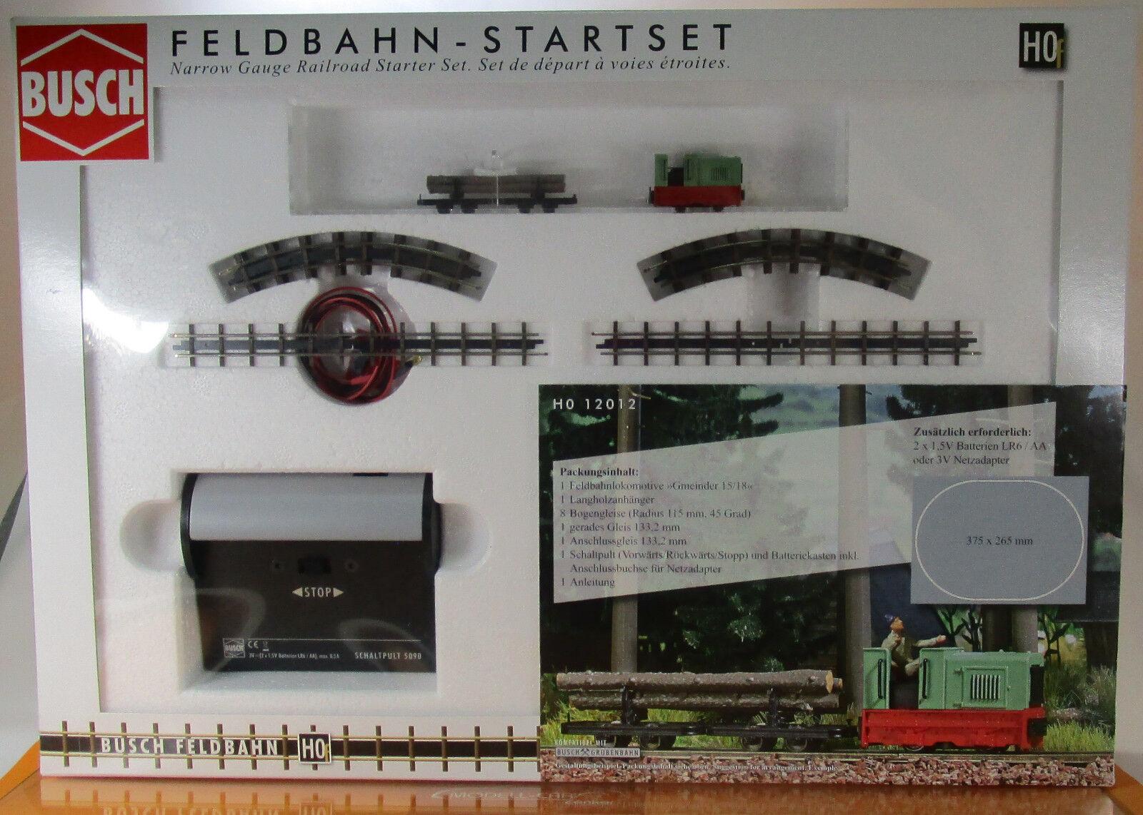 Busch 12012-h0 tren de campo inicio set con tren de campo transporte de madera parecían &