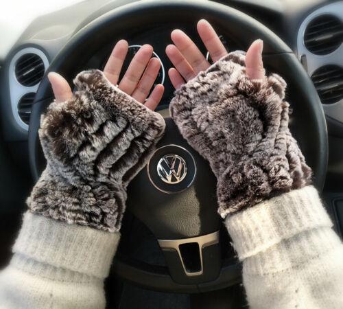 Winter Real Knit Rex Rabbit Fur Fingerless String Gloves Driver Wrist Mittens