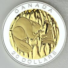 2014 $20 7 Sacred Teachings Wisdom: Beaver, 1 oz Pure Silver Proof, Gold Plating