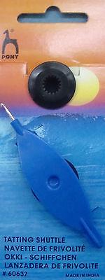 1 NAVETTA per chicchierino con uncinetto  ago millimetri 0,75 colore BLU