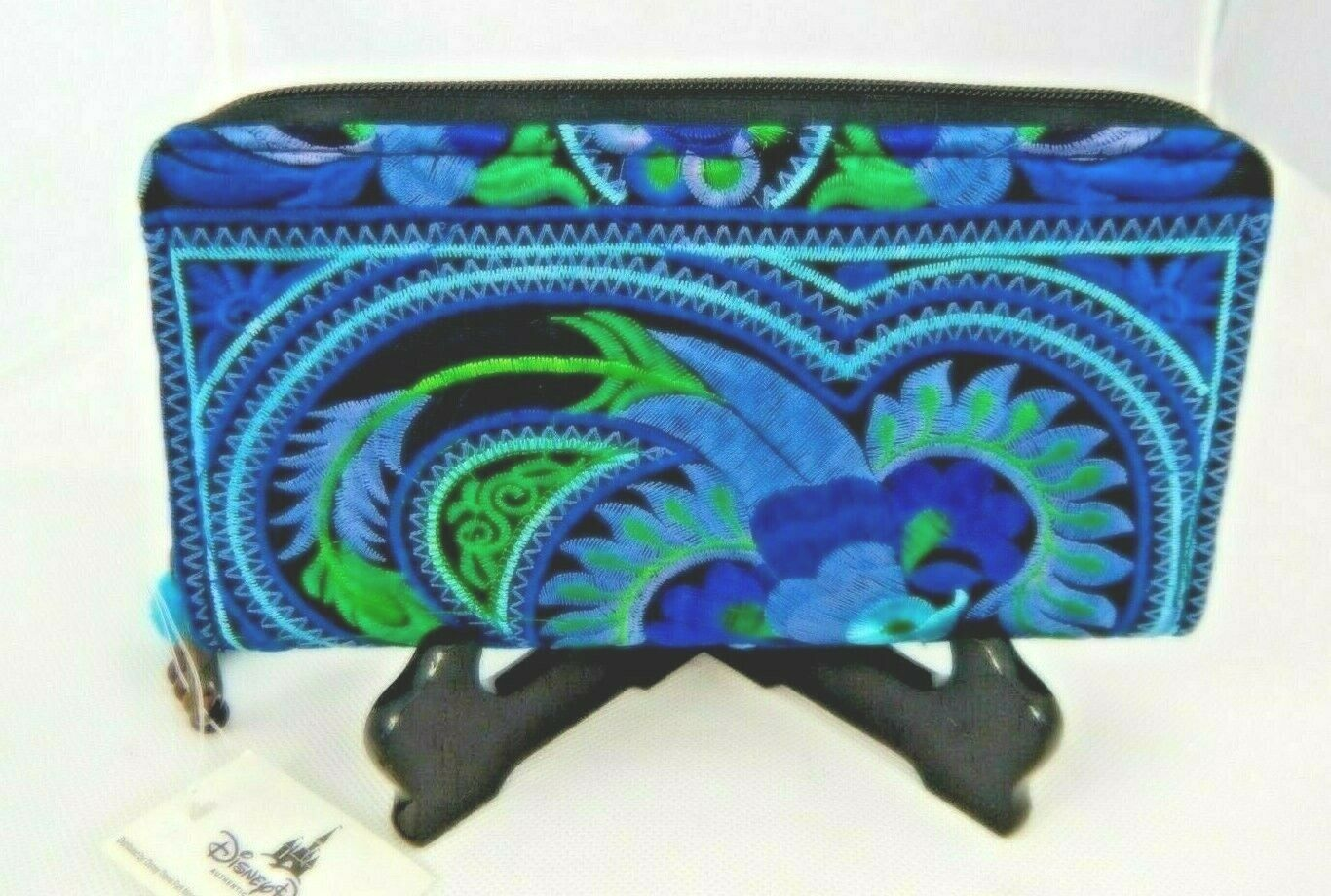 New w Tag Walt Disney Would Upcycled A Mano Fair Trade Wallet Blue Embroidered