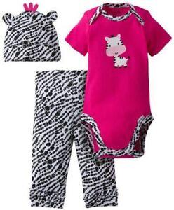 9fe646a5be91 SO CUTE GERBER BABY GIRL 3-PIECE ZEBRA NEWBORN SET. PANTS BODYSUIT ...