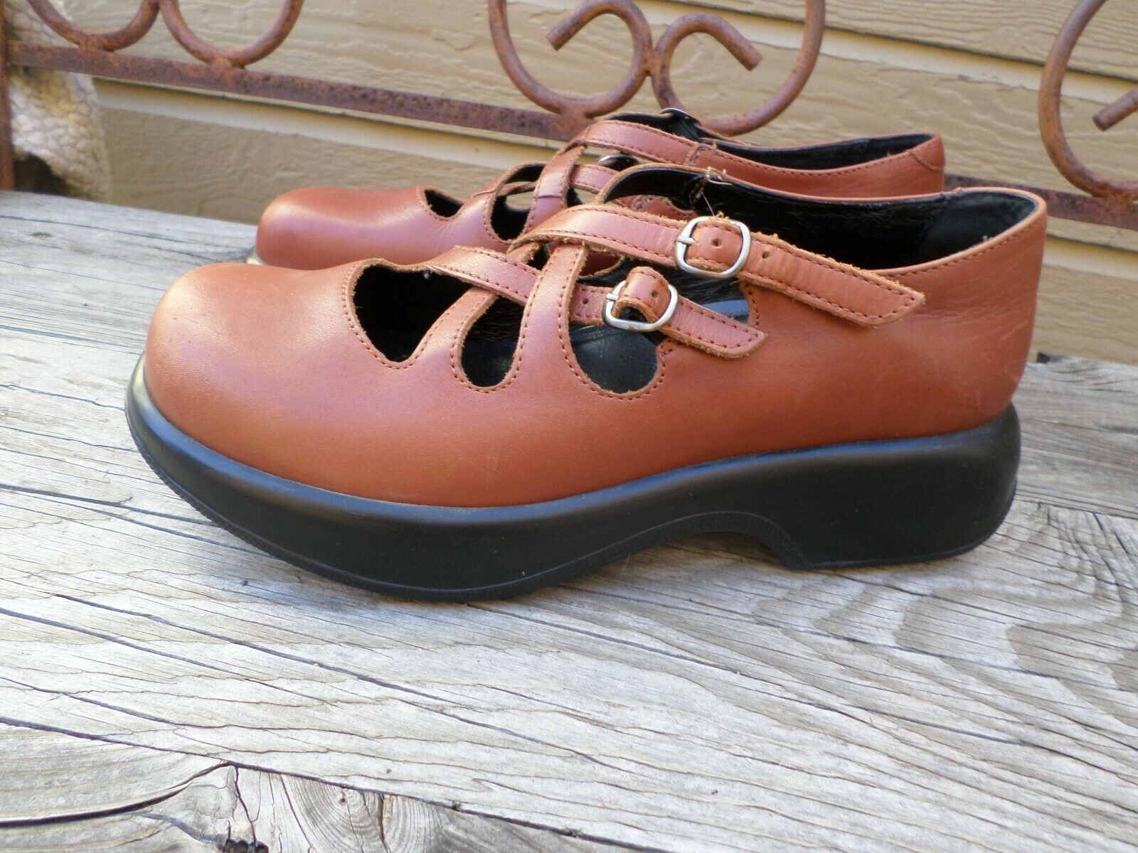 Dansko Brown Leather Chunky Mary Jane shoes Women's 39   8.5-9  Made in Mgoldcco