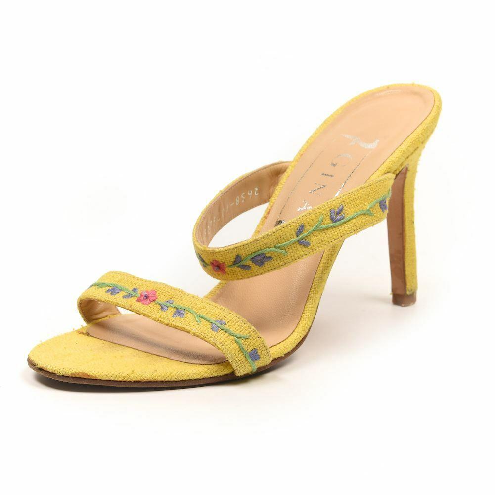 GINA Sandals Gelb Floral Embroiderot Größe UK 4 PF 275