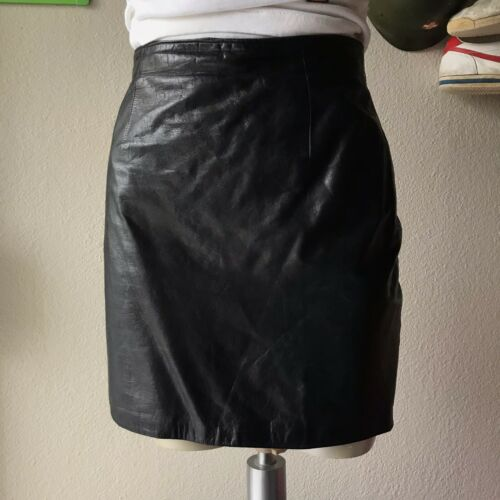 Vintage Tannery West Black Leather Pencil Skirt Th