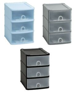 PLASTIC-A5-HANDY-DRAWER-UNIT-STORAGE-ORGANIZER-SILVER-BLACK-COOL-BLUE-TIDY-COMPA