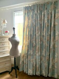 Nice-pair-of-lined-curtains-laura-ashley-034-millwood-034-duck-egg-linen-mix