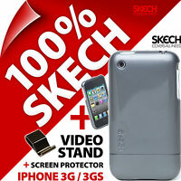 New Skech Shine Case for iPhone 3G 3GS Titanium Grey Hard Cover+Screen Protector