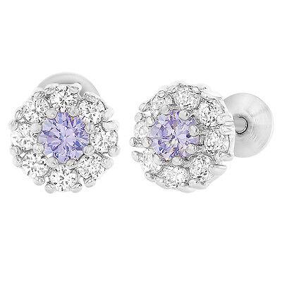 Rhodium Plated Flower Lavender Purple Clear CZ Screw Back Baby Girls Earrings