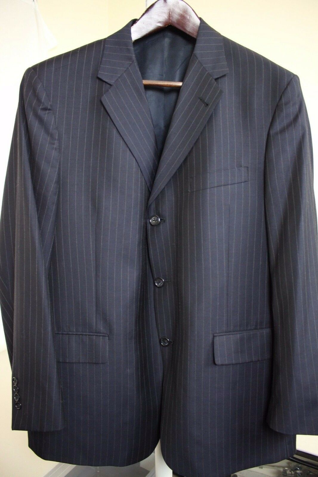 Kenneth Cole Wool & Silk Blend Navy Striped 2 Button Lined Blazer Size - 46R