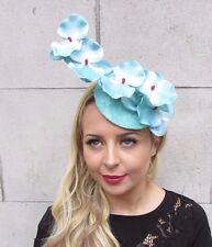 Sky Light Blue Orchid Flower Pillbox Hat Fascinator Races Rockabilly Clip 3234