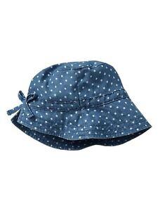 NWT-GAP-Light-Denim-Polka-Dot-Bow-Bucket-Sun-Hat-100-Cotton-Girls-2T-3T-4T-5T