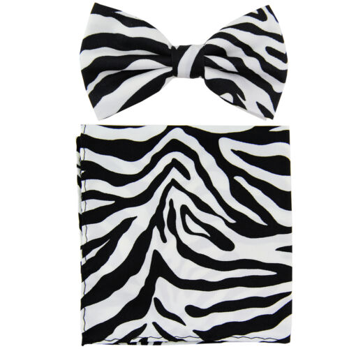 New Men/'s Pre-tied Bow Tie /& Pocket Square Hankie set zebra Black White wedding