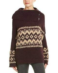 56c2816be Free People Womens Fair Isle Split Neck Sweater Merlot Purple Small ...